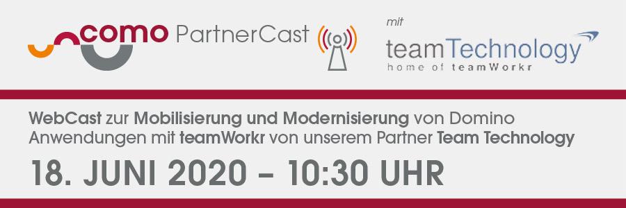 Banner CoMo Solution PartnerCast – Mobilisierung und Modernisierung von Domino Anwendungen mit teamWorkr